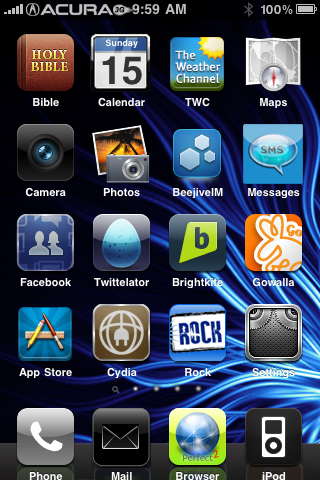 Clayton Wakida's Original Winterboard Theme - Blue Thunder