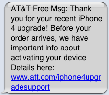 AT&T Sends Text Messages to iPhone 4 Owners