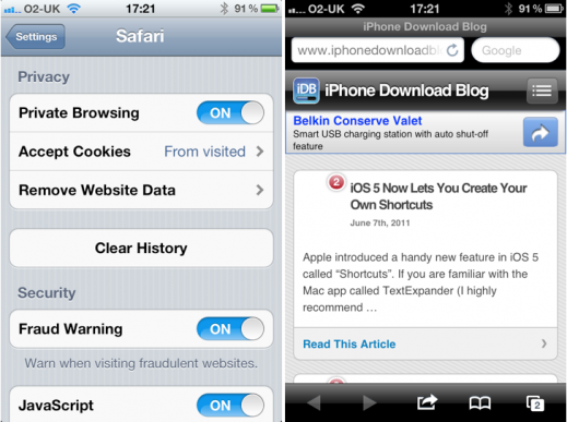 private browsing on iphone iphone mobile safari gets browsing mode in ios 5 15911
