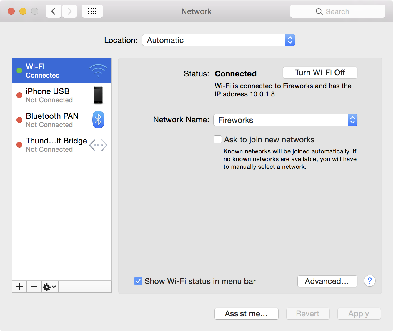 System Preferences Network
