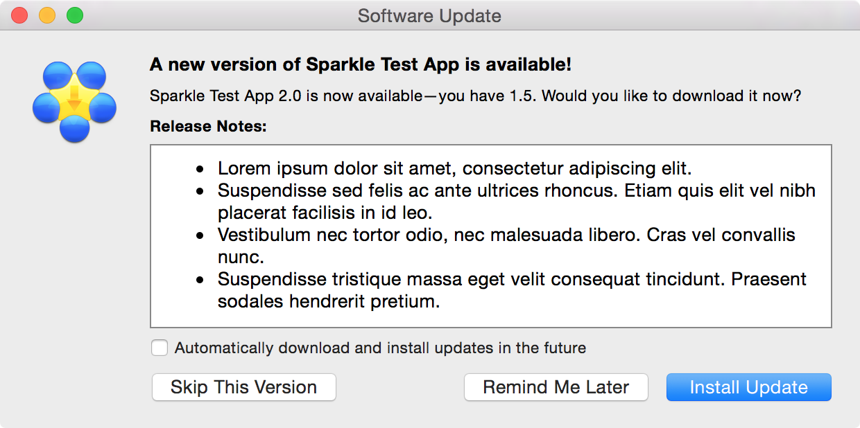 sparkle updater interface example