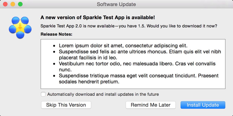 ejemplo de interfaz de actualización de sparkle